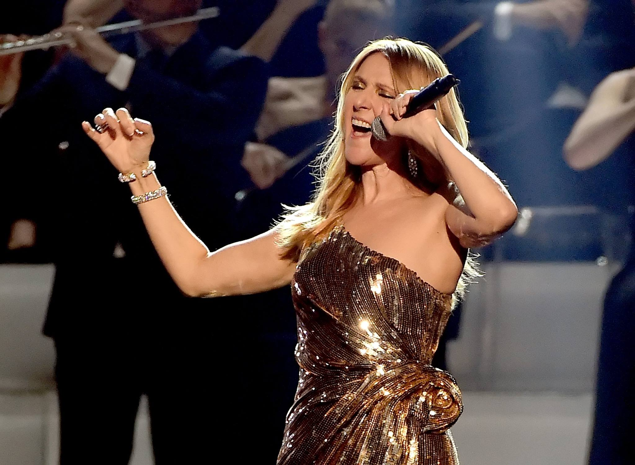 Celine Dion handles a fan's uninvited stage antics like a pro