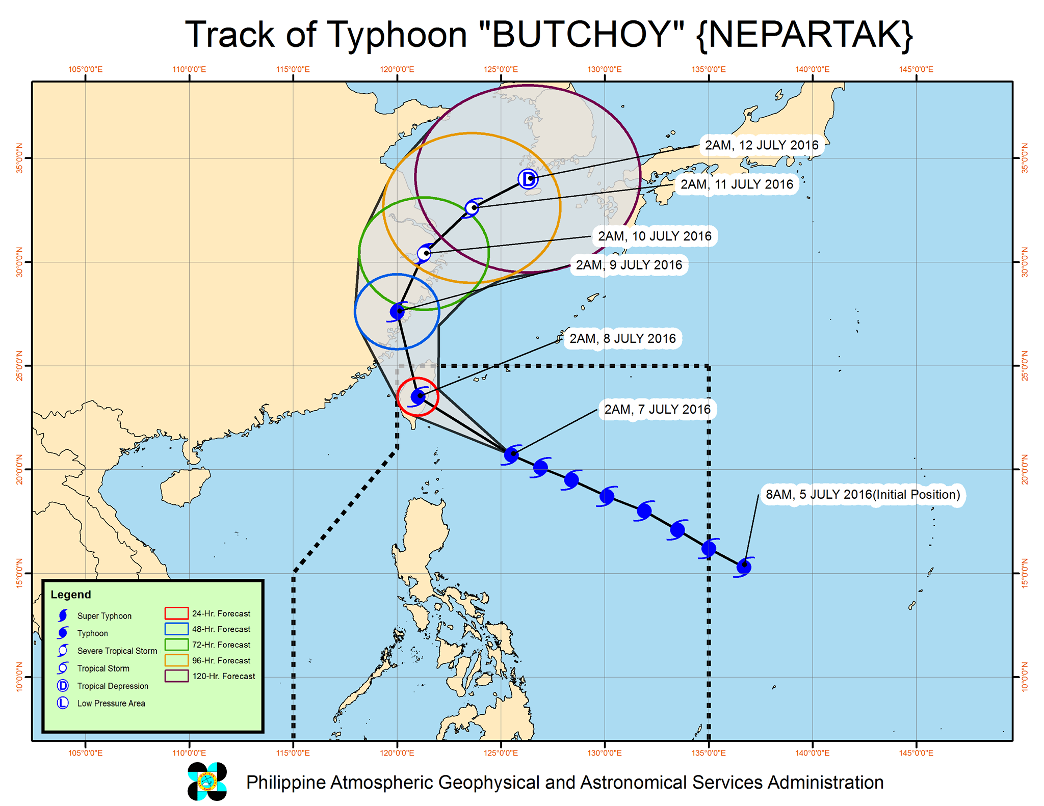 Typhoon Butchoy Philippines To Taiwan July 7 2016