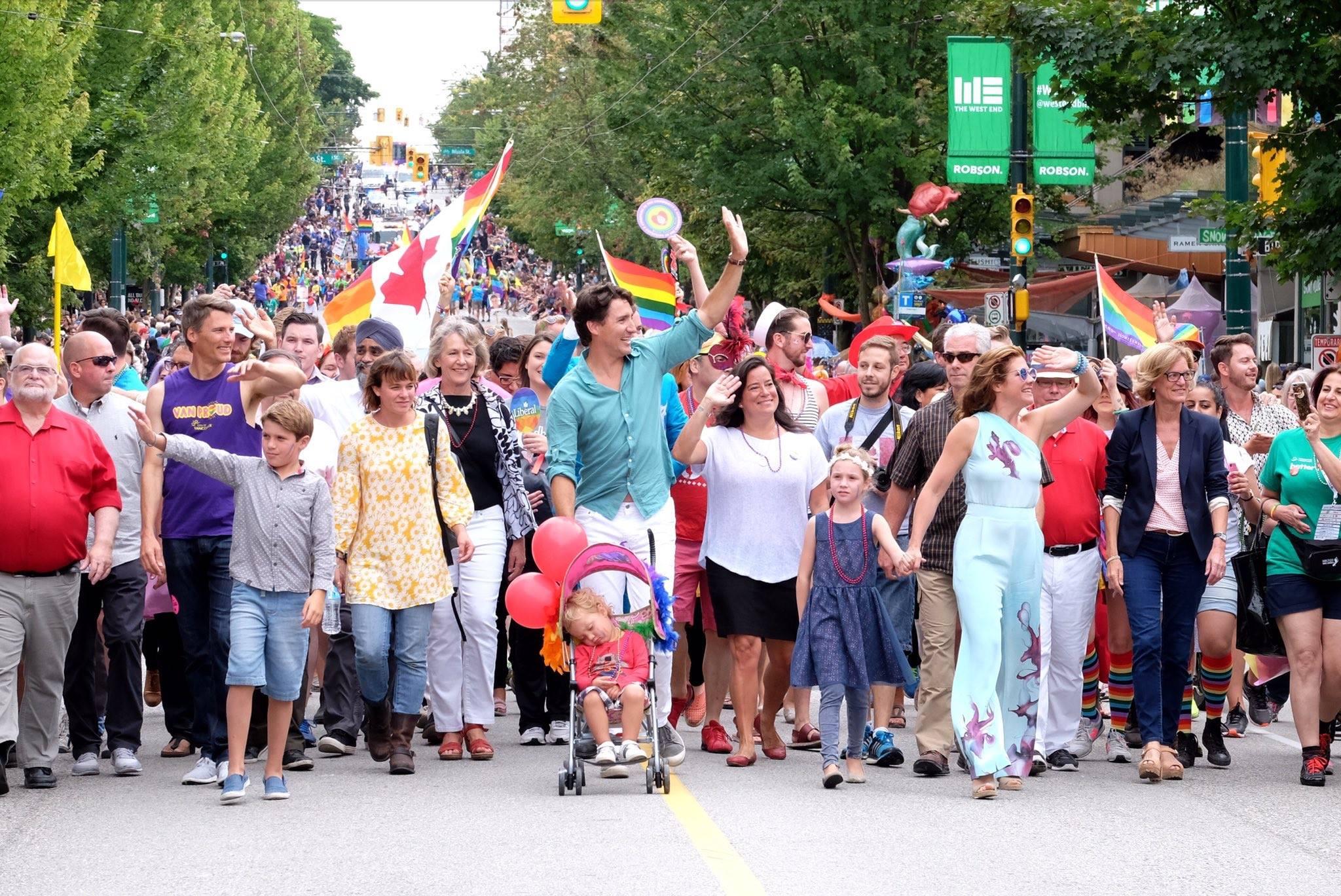 Justin Trudeau marches in Vancouver Pride Parade. (Photo: Justin Trudeau/Facebook)