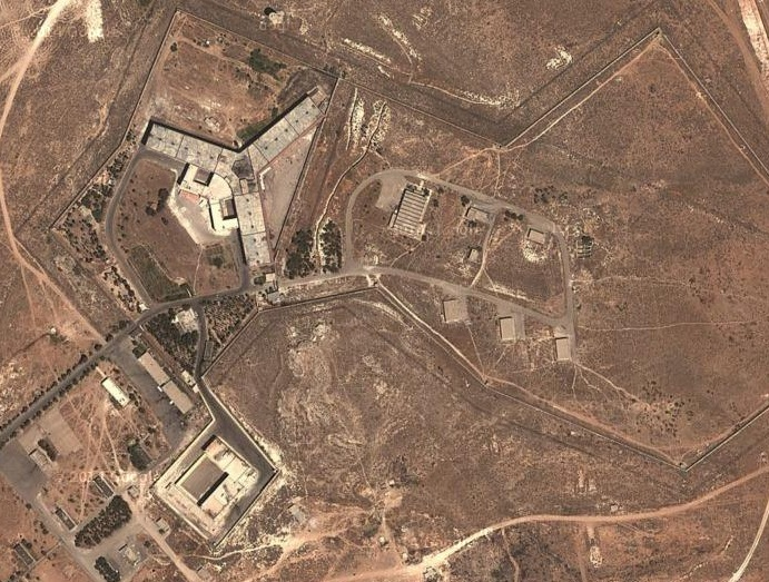 Aerial view of Saidnaya Prison, near Damascus. (Imagery ©2016 CNES, Astrium, DigitalGlobe, Map data ©2016 Google)