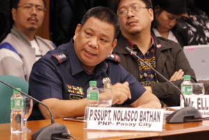 Supt. Nolasco Bathan, Officer in Charge of the Philippine National Police (PNP) during the public hearing on dangerous drugs and alleged extrajudicial killings on Monday (Aug. 22, 2016) at the Senate in Pasay City. (Photos: Jess Escaros, Jr./PNA)