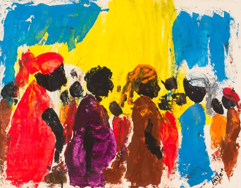 "Haile King Rubie, ""Market"", 2013, acrylic on paper. (Photo courtesy of Clara Francis Gallery/Facebook)"