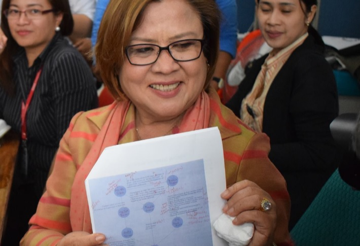 Sen. Leila de Lima holds a copy of Duterte's drug matrix which she says belongs to 'garbage can'. (Photo: Leila de Lima/Facebook)