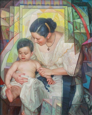 "Tenderness. Oil on canvas by Dimasalang Founder Sofronio ""Sym"" Mendoza."