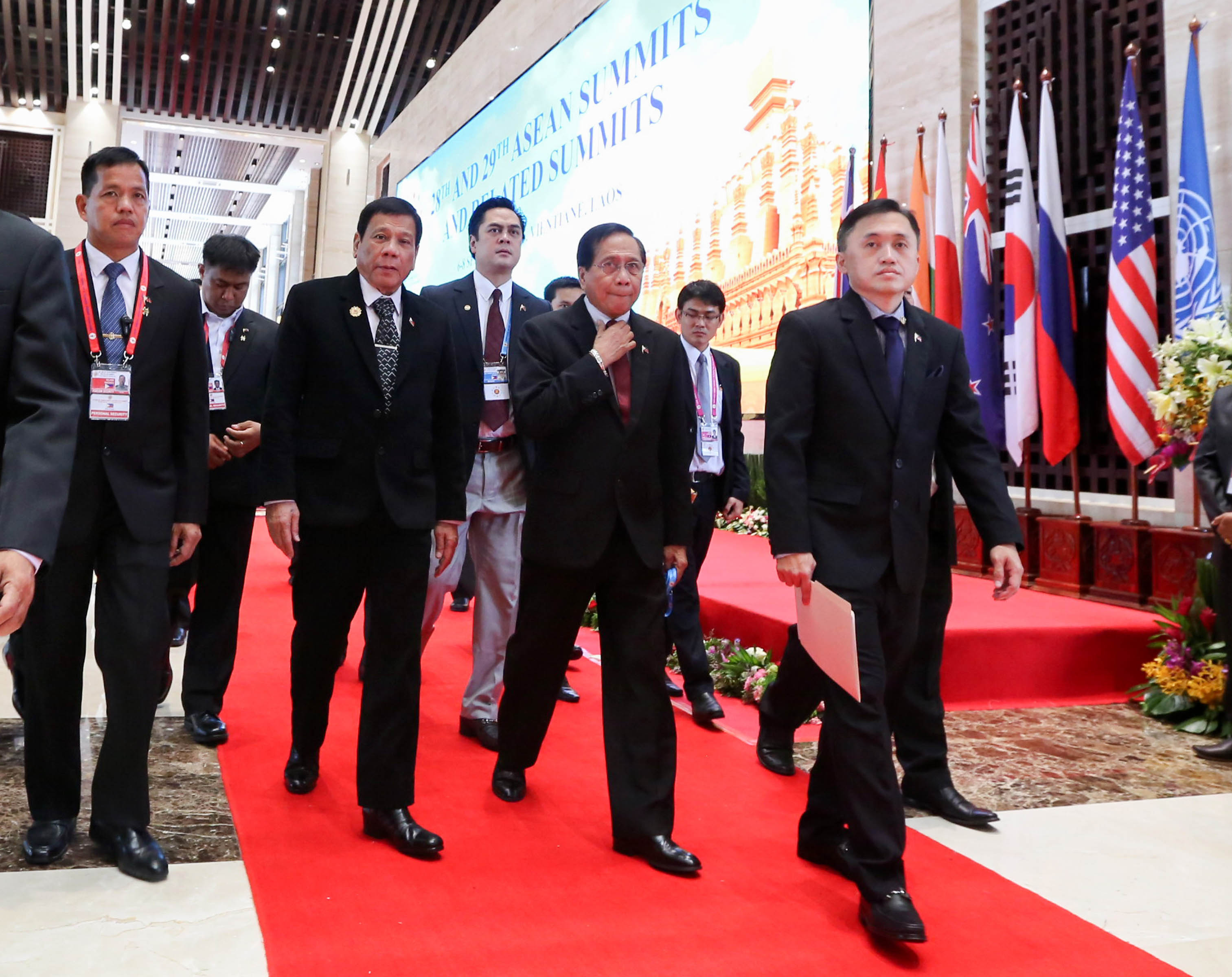 "President Rodrigo ""Rody"" Duterte and his delegation arrived at the National Convention Center in Vientiane, Laos on September 7, 2016 to attend the second day of the ASEAN Summit. (Photo: King Rodriguez/PPD/PNA)"
