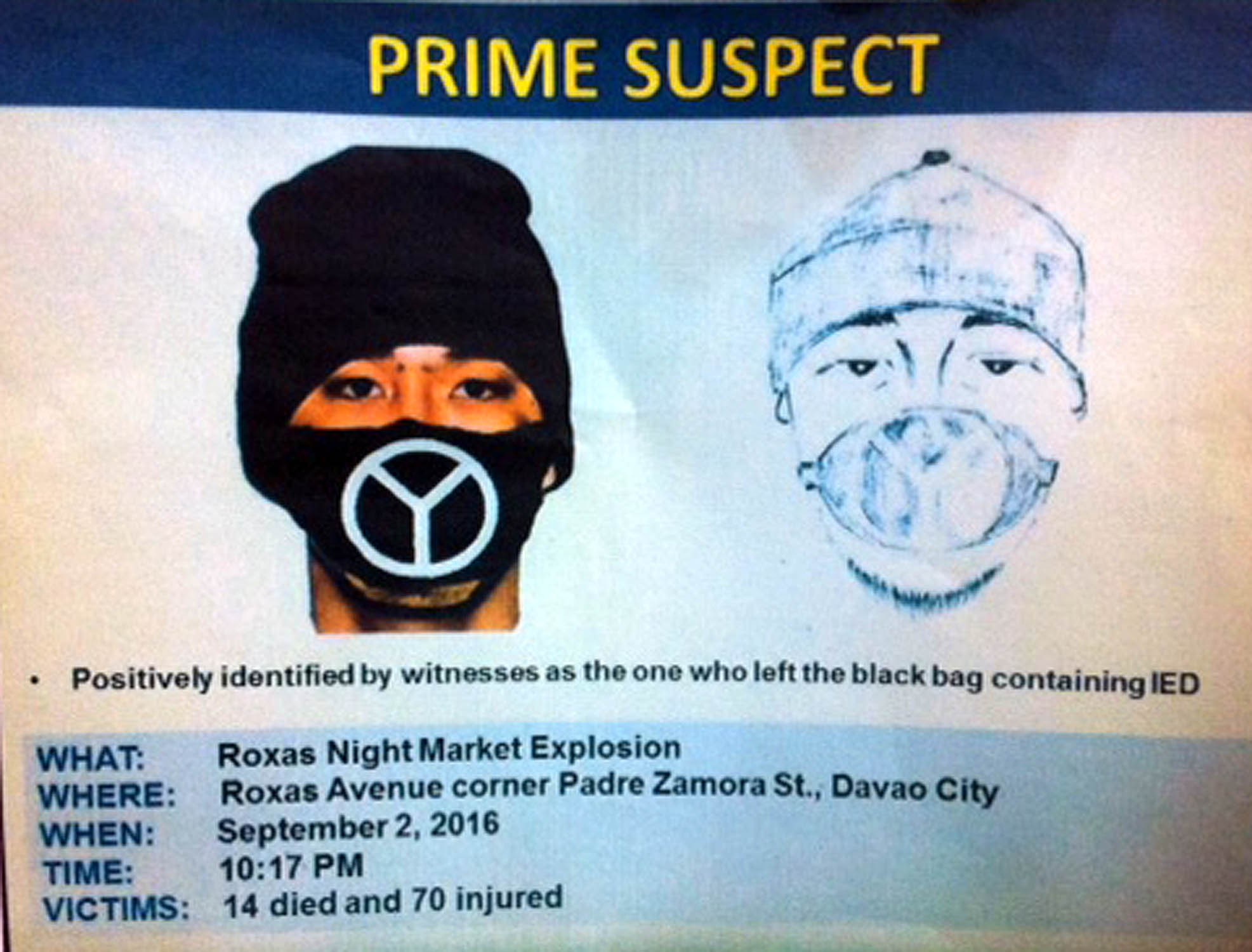 DAVAO CITY - Philippine National Police (PNP) regional office XI released the computerized facial composite (right) and the artist sketch (left) of the prime suspect of last Friday night market explosion along Roxas Avenue that left 14 dead and 70 wounded. (Photo: Lilian Mellejor/PNA)