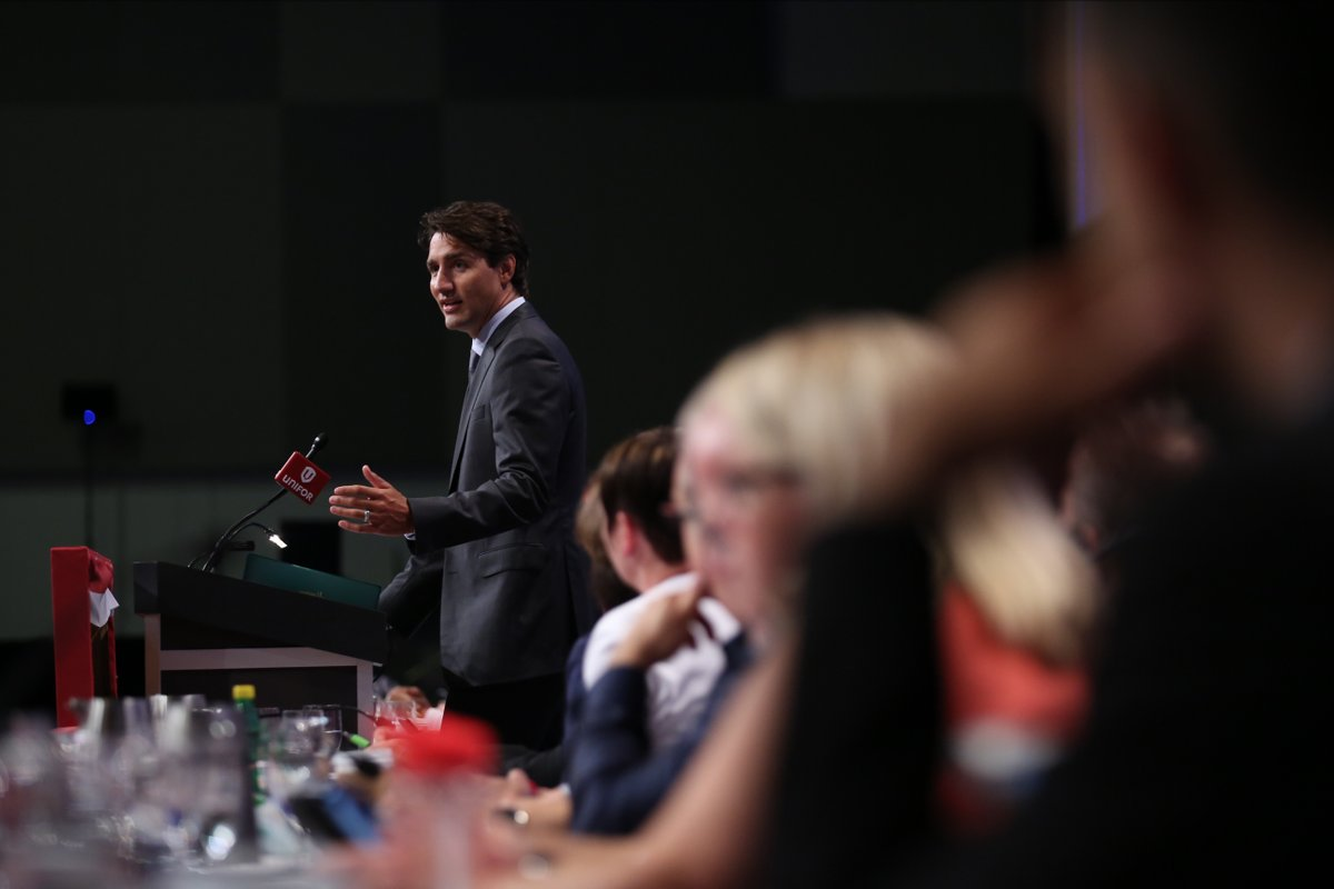 Prime Minister Justin Trudeau demonstrated a new virtual camera used by game makers at an Electronic Arts Canada studio near Vancouver on Thursday after promoting the country's technology sector to officials in Washington state.  (Twitter photo)