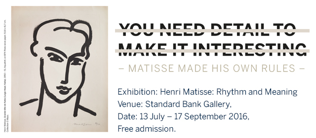 For the first time, Africa is hosting an exhibit devoted to Henri Matisse. (Photo courtesy of Standard Bank)