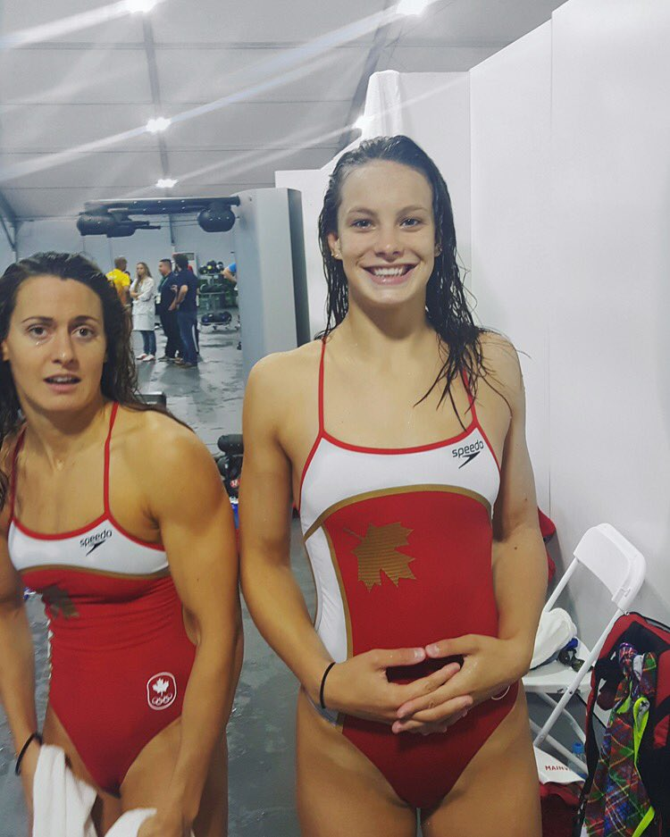 Penny Oleksiak (right) with Sandrine Mainville (Photo from Penny Oleksiak's Twitter Account)