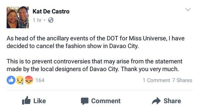 Kat De Castro's Facebook post (Photo from Kat De Castro's Facebook account)
