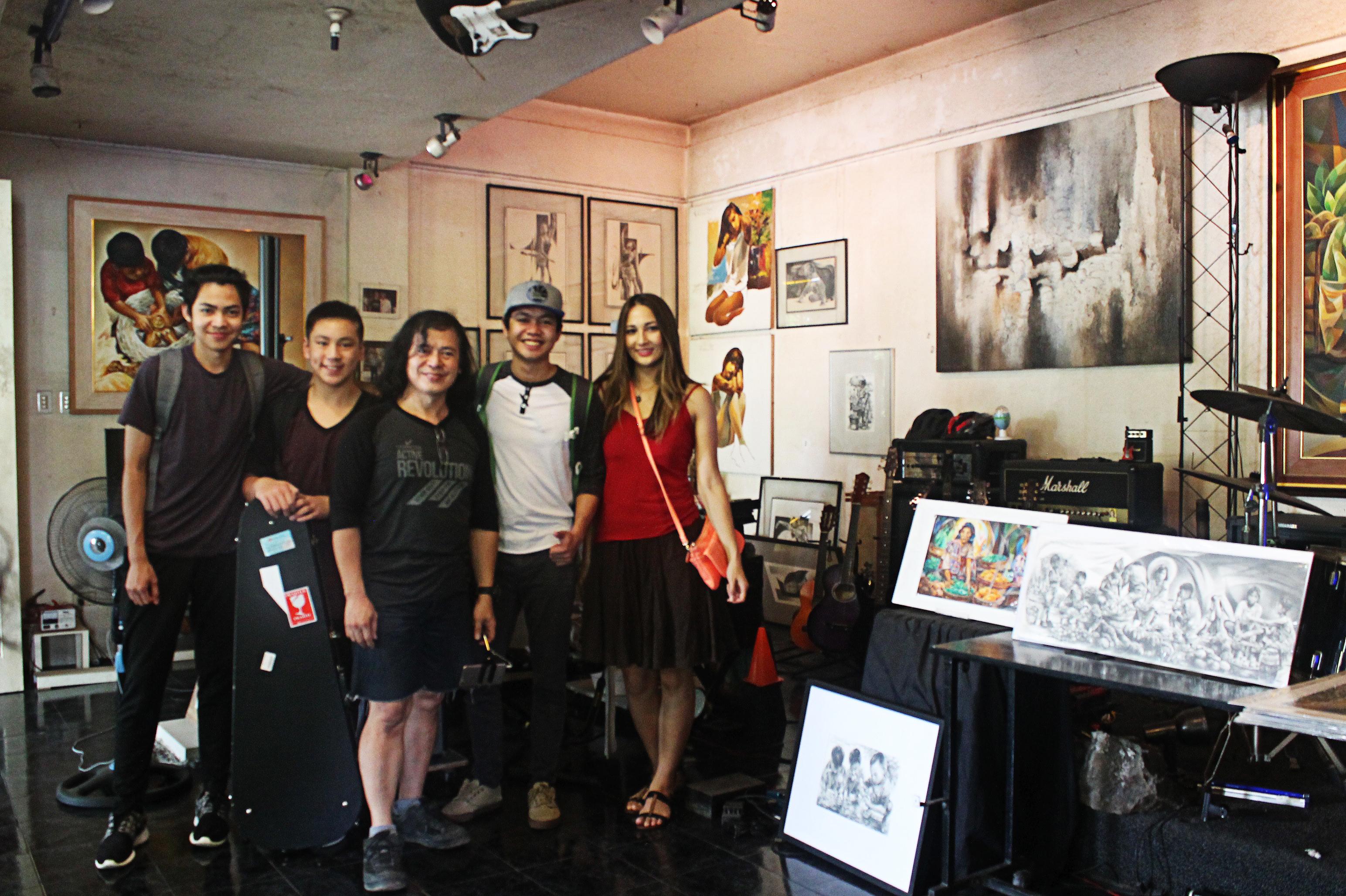 "CW Music Aldrix Aniceto, ""Unsung"" band guitarist Maxwell Ng, Artist Orville Tiamson, Allen Aniceto and Chrsitine White"