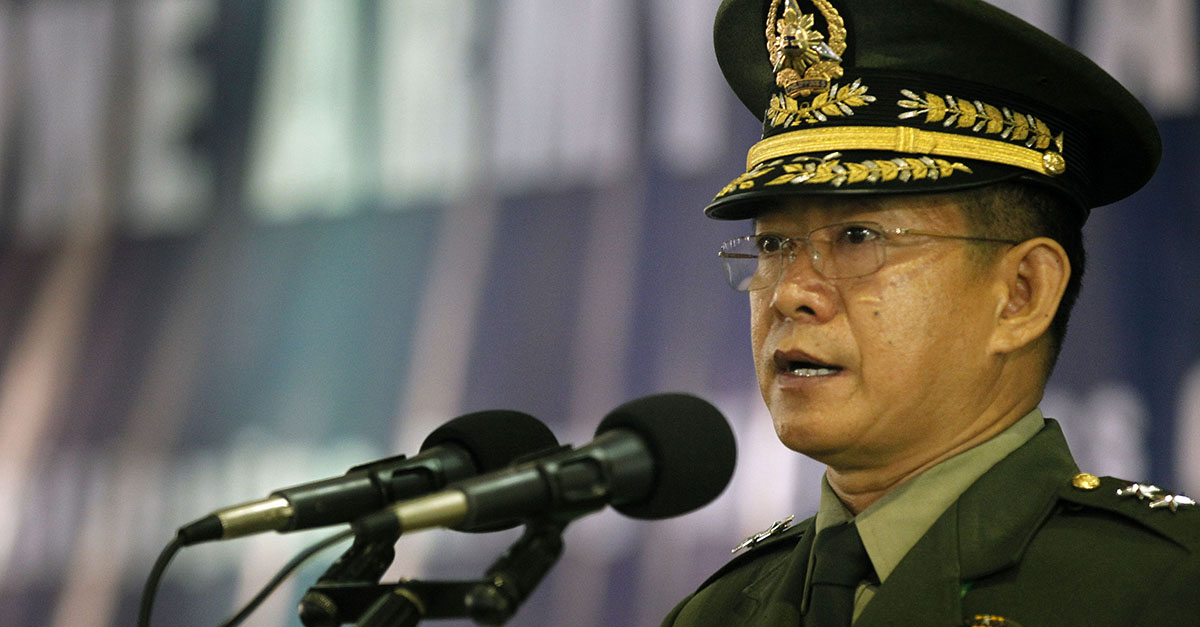 Armed Forces of the Philippines (AFP) chief-of-staff Gen. Eduardo Año is looking at possible joint patrol with Indonesia and Malaysia to prevent kidnapping attacks at sea by the Abu Sayyaf Group (ASG) and other lawless elements.  (Photo by Gil Nartea / Malacañang Photo Bureau)