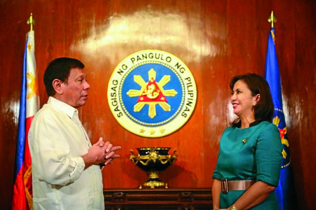 President Rodrigo Duterte and Vice President Leni Robredo at Duterte's office