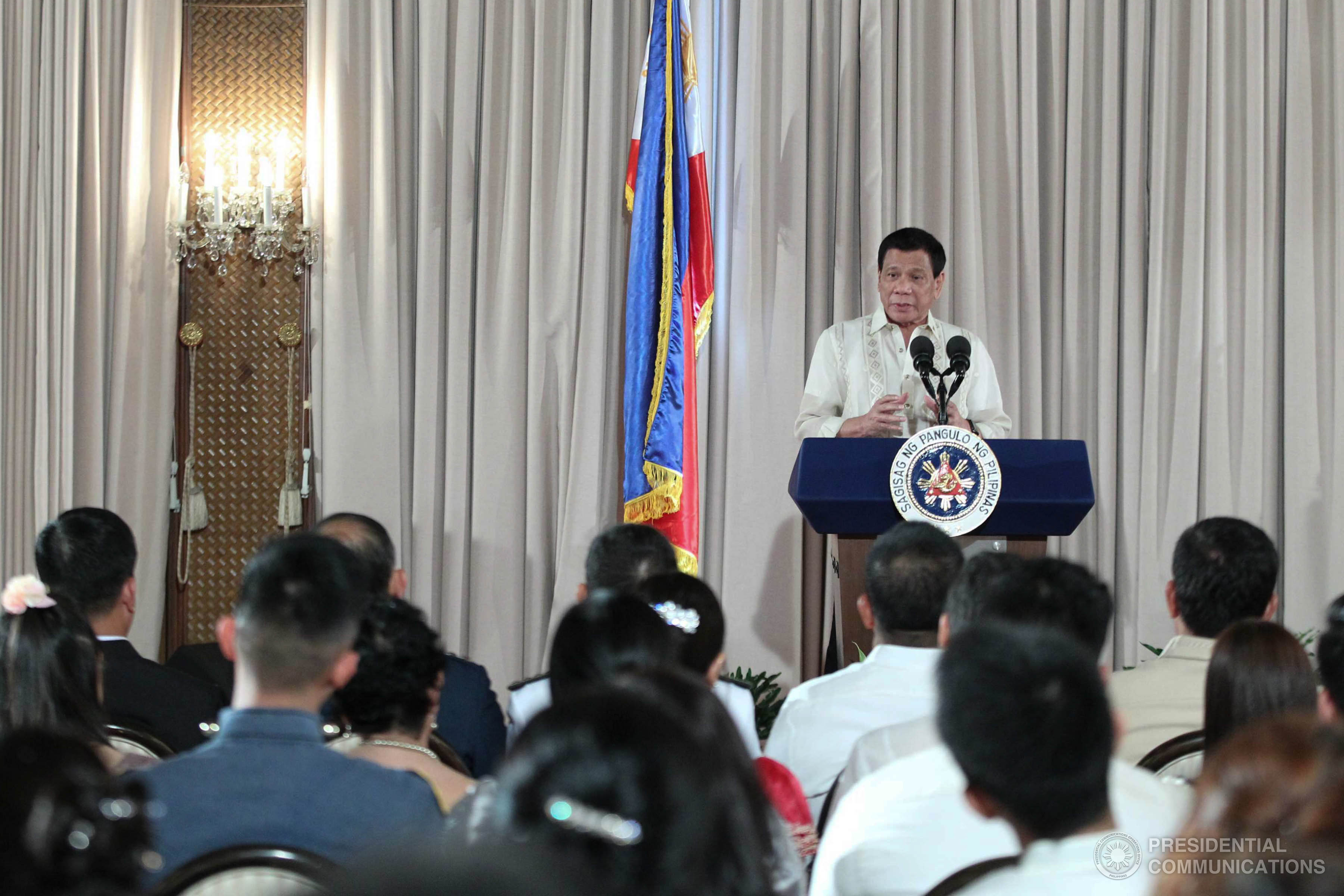 """Your housing, after a few years, you have to pay Php200,000 both the (typhoons) Yolanda and Pablo. For as long as I am the president, it will be free,"" President Duterte said during the National Housing Summit in Quezon City.(Photo: ACE MORANDANTE/Presidential Photo)"