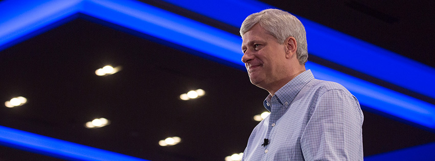 Harper illustrated that with a story about being told by the Bush administration when he took office in 2006 that NAFTA would never have won a vote in the U.S. Congress at that time. (Photo: Stephen Harper/Facebook)