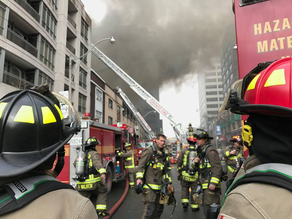 "Firefighters continued to pour water on a massive and ""hazardous"" blaze in midtown Toronto early Wednesday, several hours after the fire began and forced the evacuation of surrounding buildings. (Photo: Toronto Fire Services/ Facebook)"