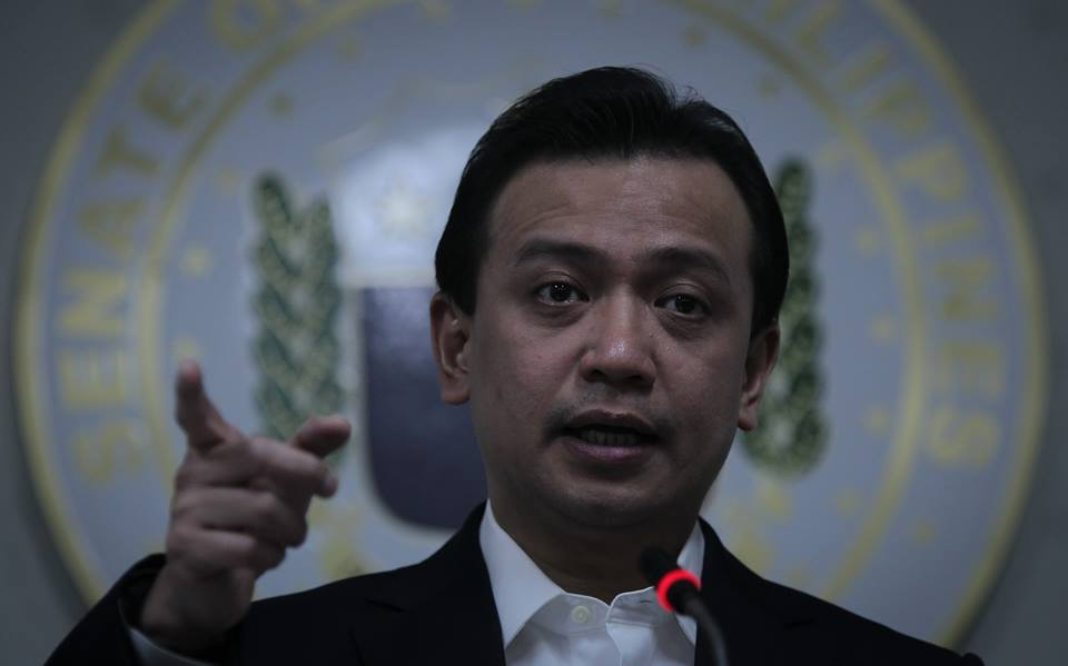 "He said De Jesus' complaint was based on Trillanes allegations that two CA justices accepted bribes from former Makati Mayor Junjun Binay in 2015 to halt his suspension and for calling Pres. Duterte a ""murderer"". (Photo: Senate of the Philippines/ Facebook)"
