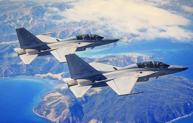"Two more South Korean-made FA-50PH ""Fighting Eagle"" jet fighters will be arriving in Clark Air Base, Pampanga Wednesday, raising the number of the country's Mach 1.5 capable aircraft to six. (Photo: Modern Philippine Navy/Facebook)"