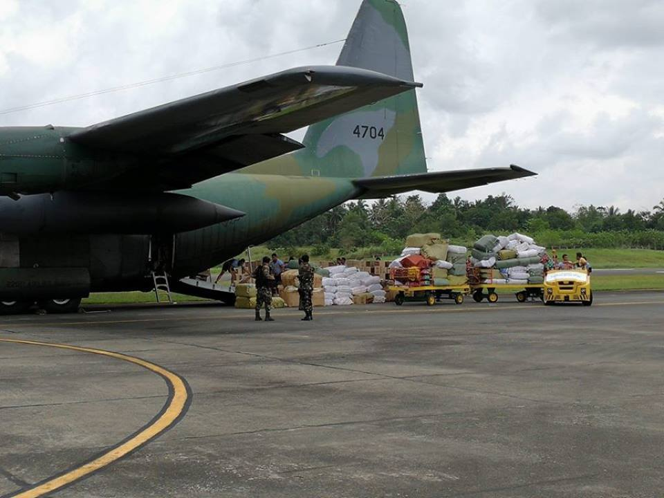 "As the government starts to mobilize assets and resources needed by quake survivors of Surigao City, the National Disaster Risk Reduction and Management Council (NDRRMC) announced it is constantly flying relief goods to the affected areas via Air Force Lockheed C-130 ""Hercules"" cargo planes. (Photo: Pinoy Aviators/Facebook)"