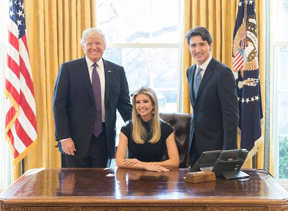 The president's daughter was seated next to Trudeau at a round-table Monday. Two women inside the meeting said Ivanka Trump raised maternal leave, and access to credit. (Photo: Ivanka Trump/ Facebook)