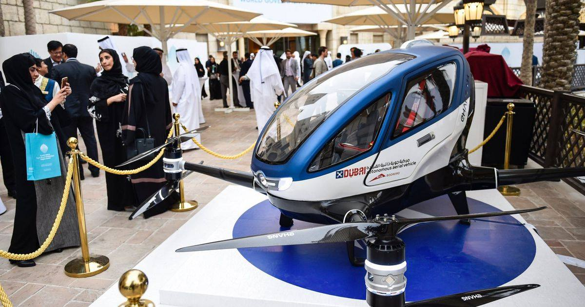 Up, up and away: Dubai hopes to have a passenger-carrying drone regularly buzzing through the skyline of this futuristic city-state in July. (Photo: Puledo Technology Arena/Facebook)