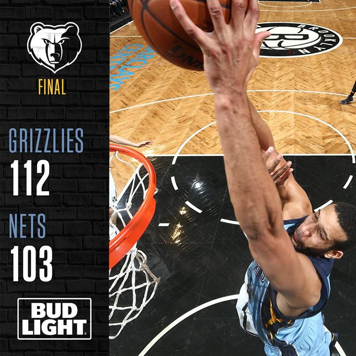 Mike Conley scored 32 points, Marc Gasol had 19 points, nine rebounds and eight assists, and the Memphis Grizzlies beat the hapless Brooklyn Nets 112-103 on Monday night. (Photo: Memphis Grizzlies/ Facebook)