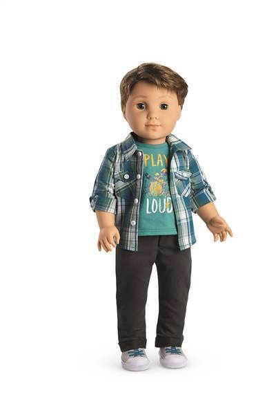 "The 18-inch ""Logan Everett""' doll will go on sale this week. American Girl, which is owned by Barbie maker Mattel Inc., says Logan is a drummer and will come with a doll-sized drum kit. (Photo: My 92.1 Regina's Best Music/ Facebook)"