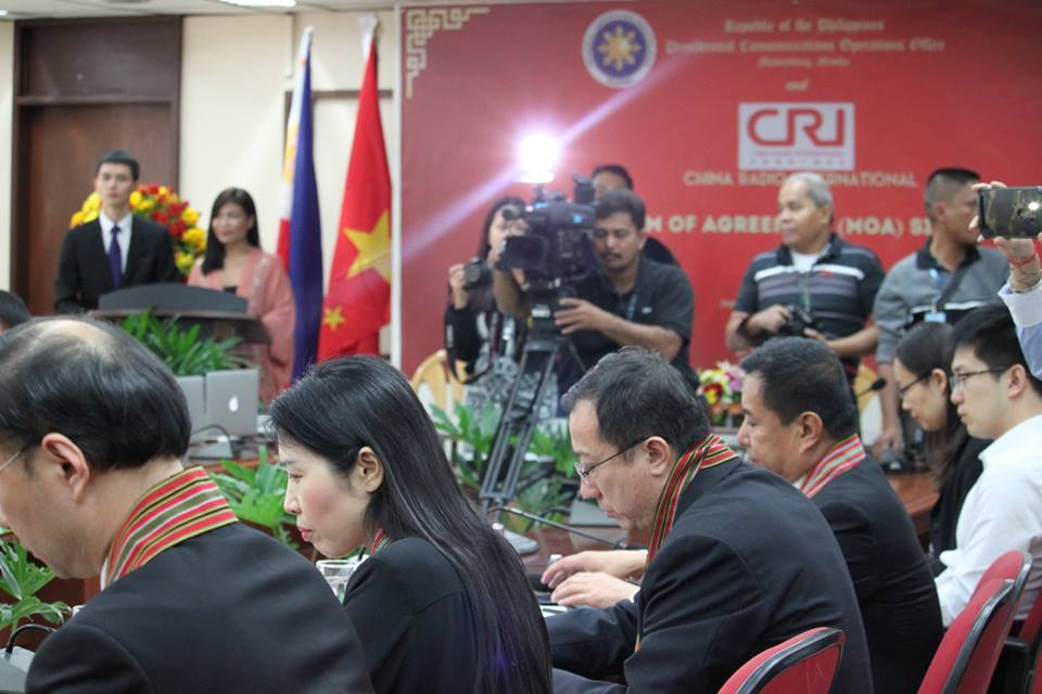 The Presidential Communications Office (PCO) on Tuesday signed a memorandum of agreement (MOA) with China Radio International (CRI) at the head office of the Philippine Information Agency (PIA) in Visayas Ave., Quezon City. (Photo: Philippine Information Agency NCR/ Facebook)