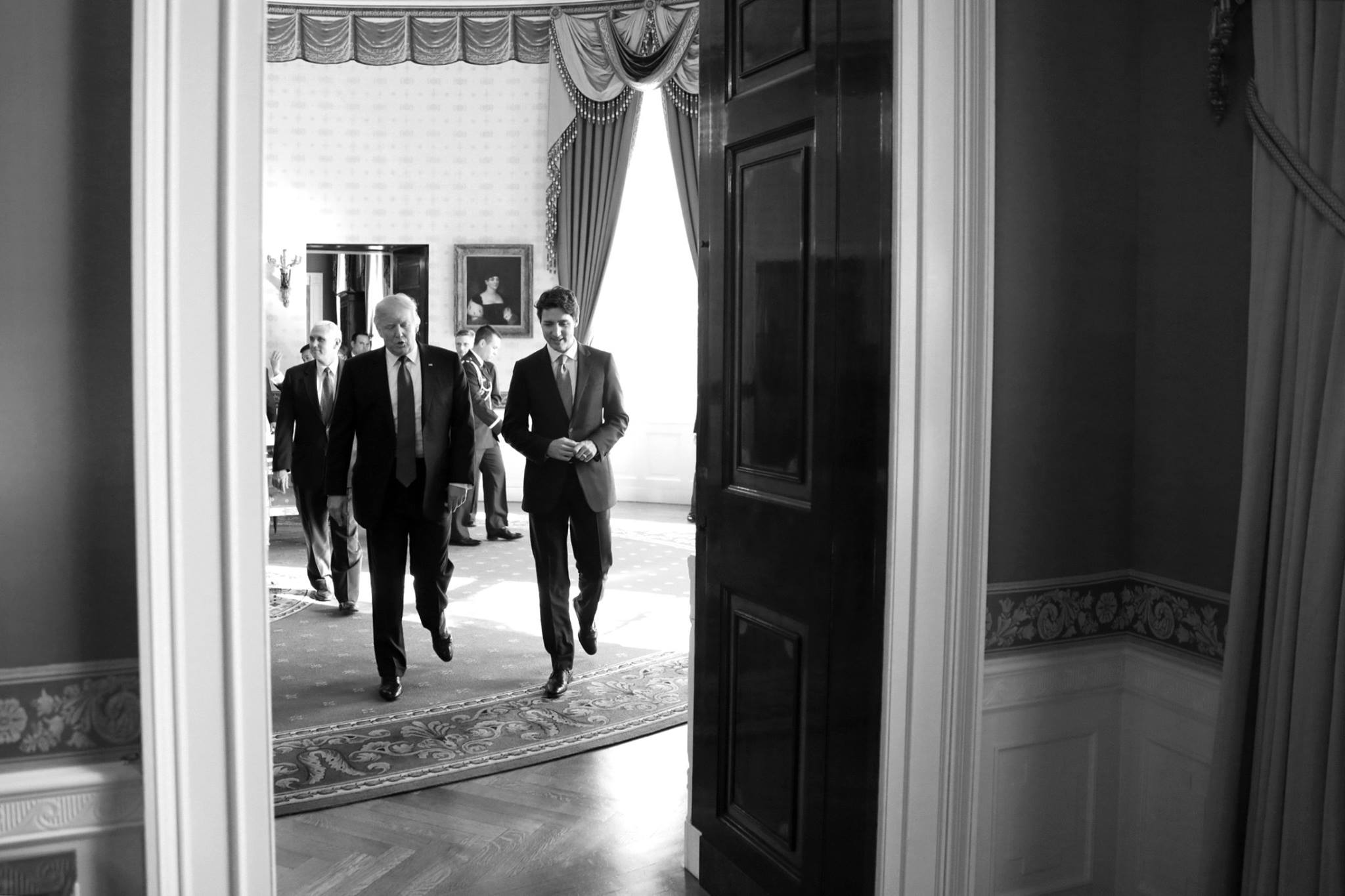 """""""We just had a very productive meeting with women business leaders from the United States and Canada, where we discussed how to secure everything that we know the full power of women can do better than anybody else,"""" Trump told a joint White House news conference with Trudeau as they wrapped up their first face-to-face meeting. (Photo: Justin Trudeau/ Facebook)"""