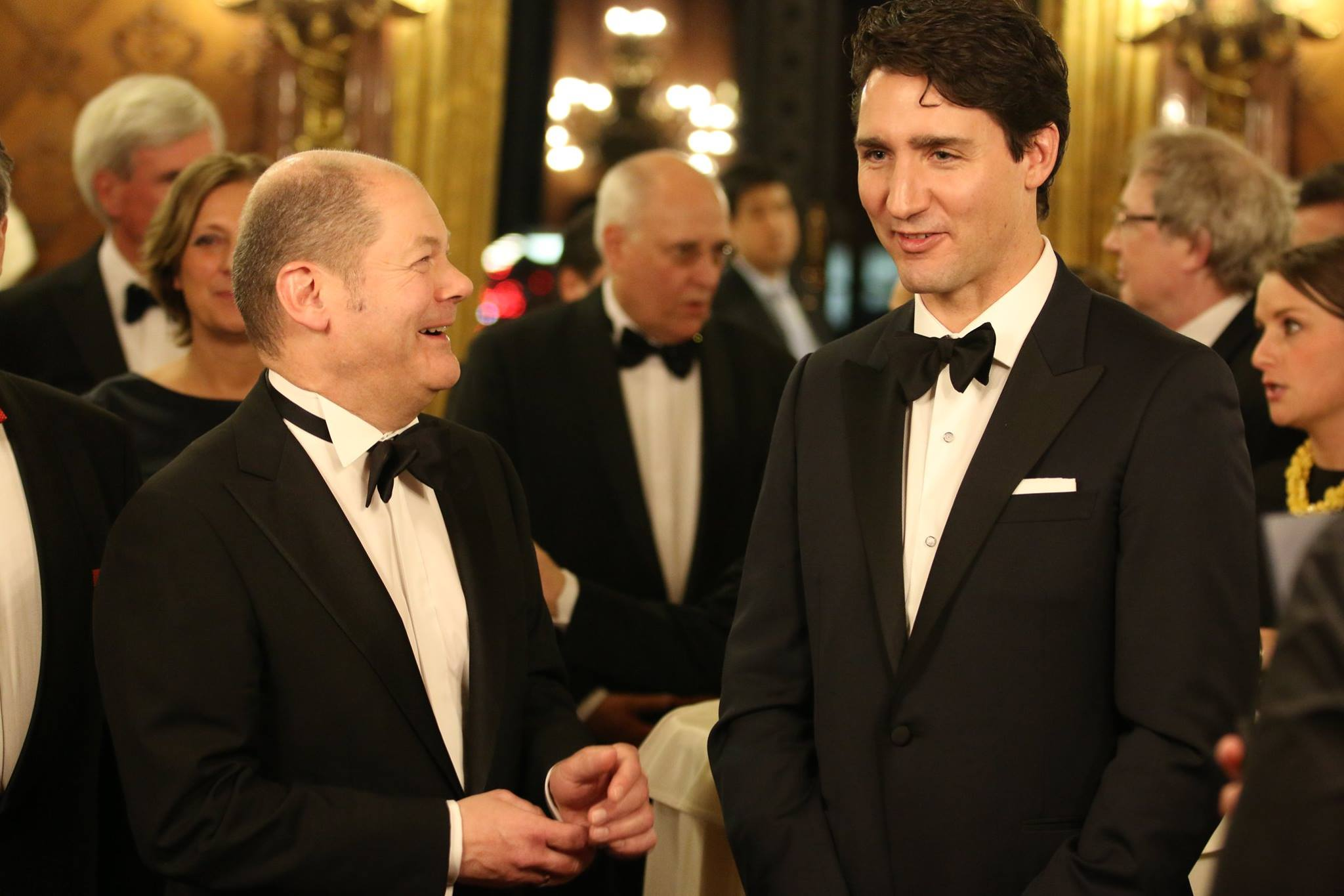 """Prime Minister Justin Trudeau used one of Germany's most prestigious black-tie galas to tell business leaders to """"get real"""" about addressing the anxieties of their workers in an uncertain world. (Photo: Hamburger Senat/Facebook)"""