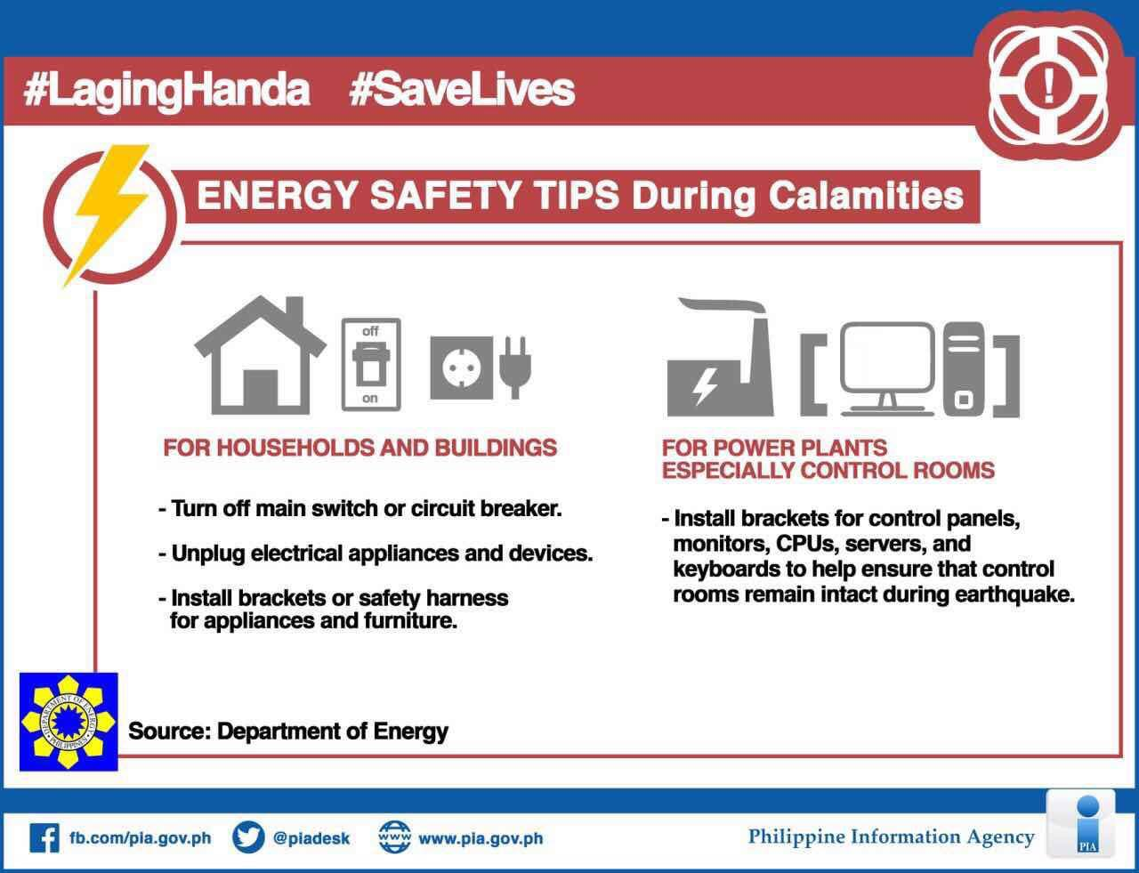 The Department of Energy (DOE) on Friday issued tips on the safe use of electrical appliances during times of calamities. (Photo: PIA-Bataan/Facebook)
