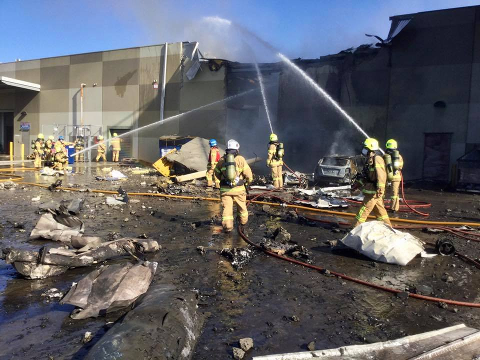 Five people were believed killed when a light plane crashed in flames into a shopping mall on Tuesday in the Australian city of Melbourne, officials said. (Photo: MFB (Melbourne Metropolitan Fire Brigade)/Facebook)