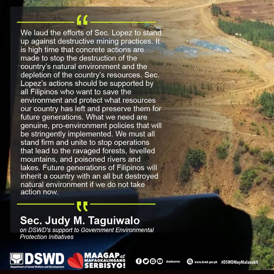 According to a news release issued Monday, the department made the promise during the plenary session of the Community Consultation and Engagement for the Affected Mining Areas and Communities in Dinagat Island, Surigao del Sur and Norte held in Butuan City over the weekend that was led by Environment Secretary Gina Lopez. (Photo: Department of Social Welfare and Development/ Facebook)