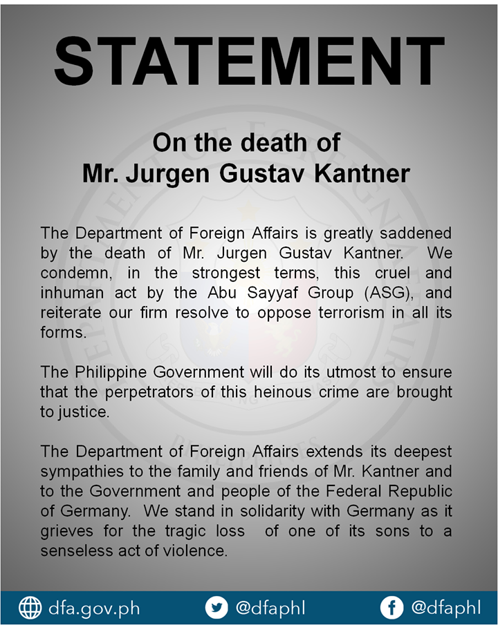 """""""We condemn, in the strongest terms, this cruel and inhuman act by the Abu Sayaf Group (ASG), and reiterate our firm resolve to oppose terrorism in all its forms,"""" DFA spokesman and Assistant Secretary Charles Jose said in a text message. (Photo: Department of Foreign Affairs Republic of the Philippines/ Facebook)"""