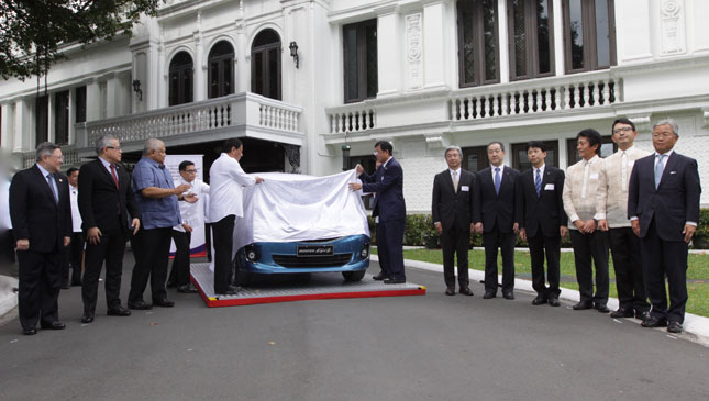 """Today, fresh from their plant in Sta. Rosa, Laguna, we're witnessing the rolling off of the first of the 200,000 Mirage cars from MMPC that will be locally manufactured under the CARS Program. Proudly, we can now say that the Mitsubishi Mirage, currently the second top-selling passenger car in the country, is made in the Philippines,"" Duterte said. (Photo: MITSUBISHI MOTORS PHILIPPINES CORPORATION)"