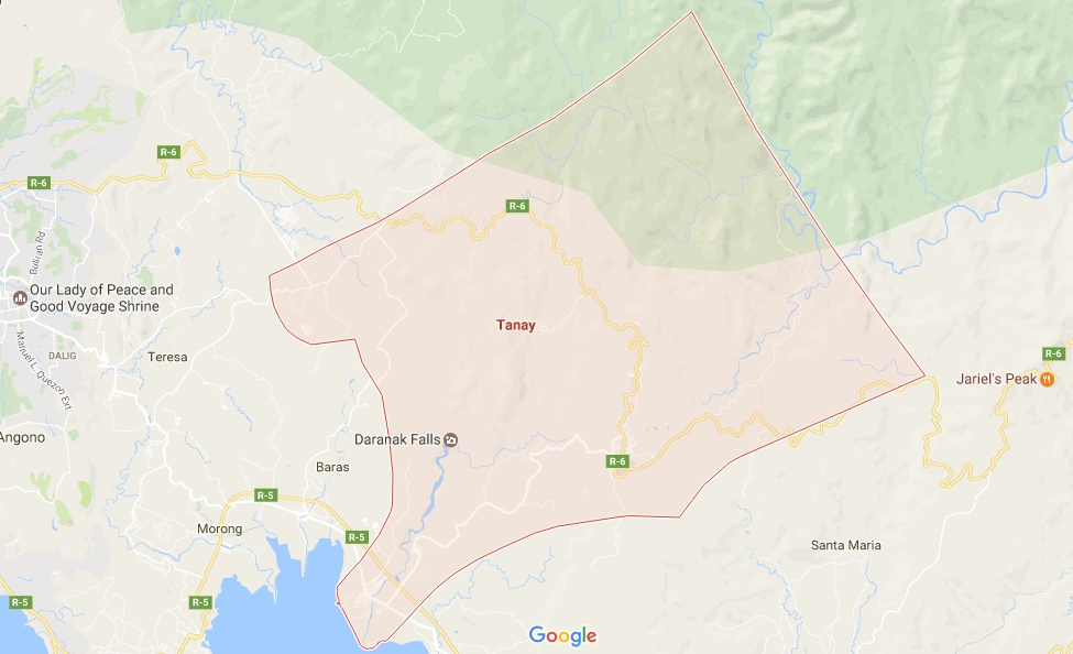 Map of Tanay, Rizal from Google