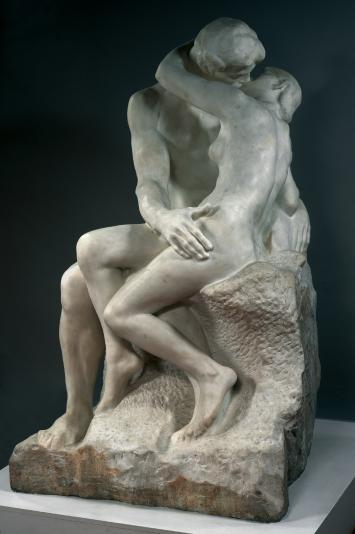 """The Kiss,"" in marble, portrays a couple forever locked in an amorous embrace. (Photo: Musée Rodin)"