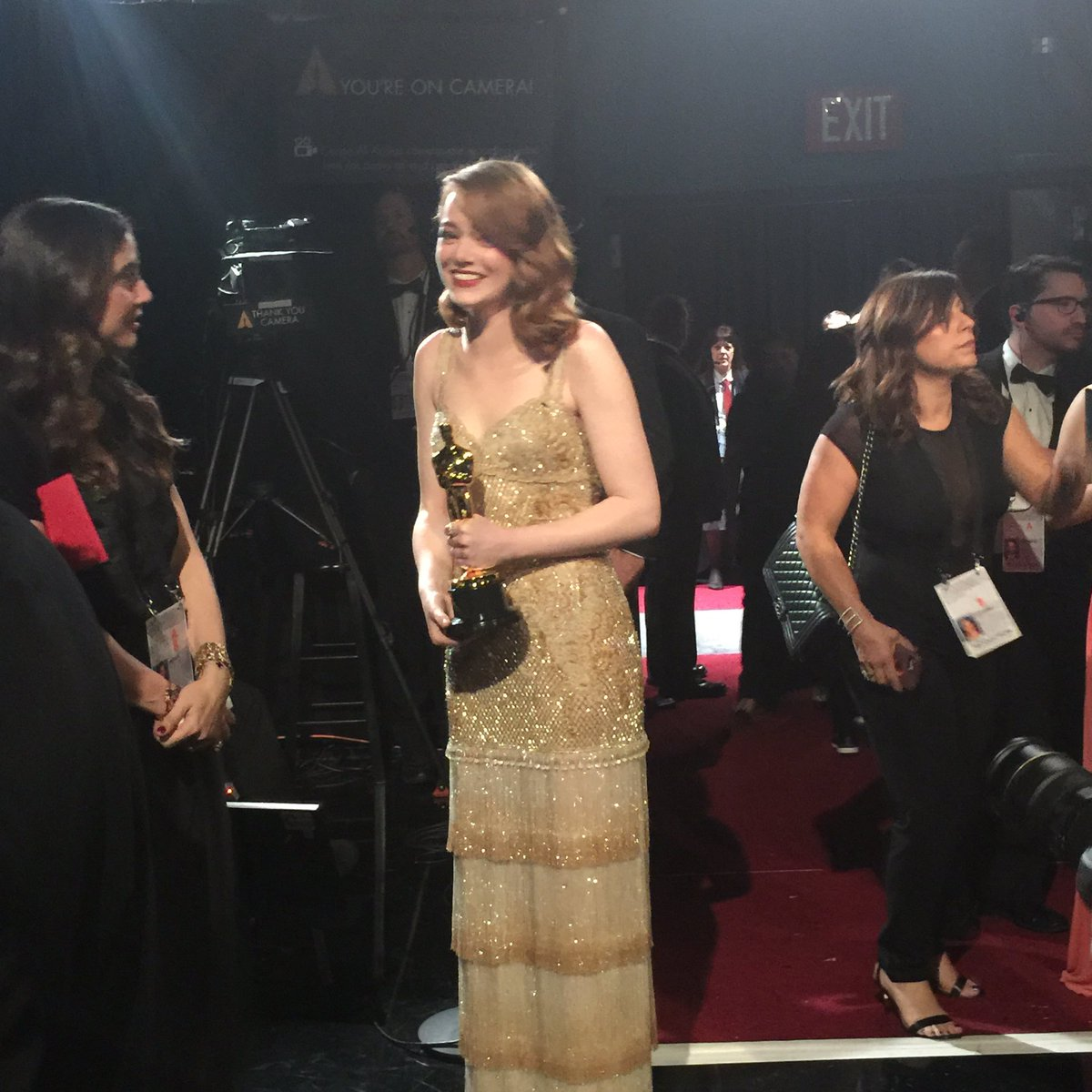 "Moments before he handed out the wrong envelope in one of the worst gaffes in Academy Award history, PwC accountant Brian Cullinan tweeted a behind-the-scenes photo of winner Emma Stone holding her statuette. ""Best Actress Emma Stone backstage!"" the tweet read. (Photo: Brian Cullinan/Twitter)"