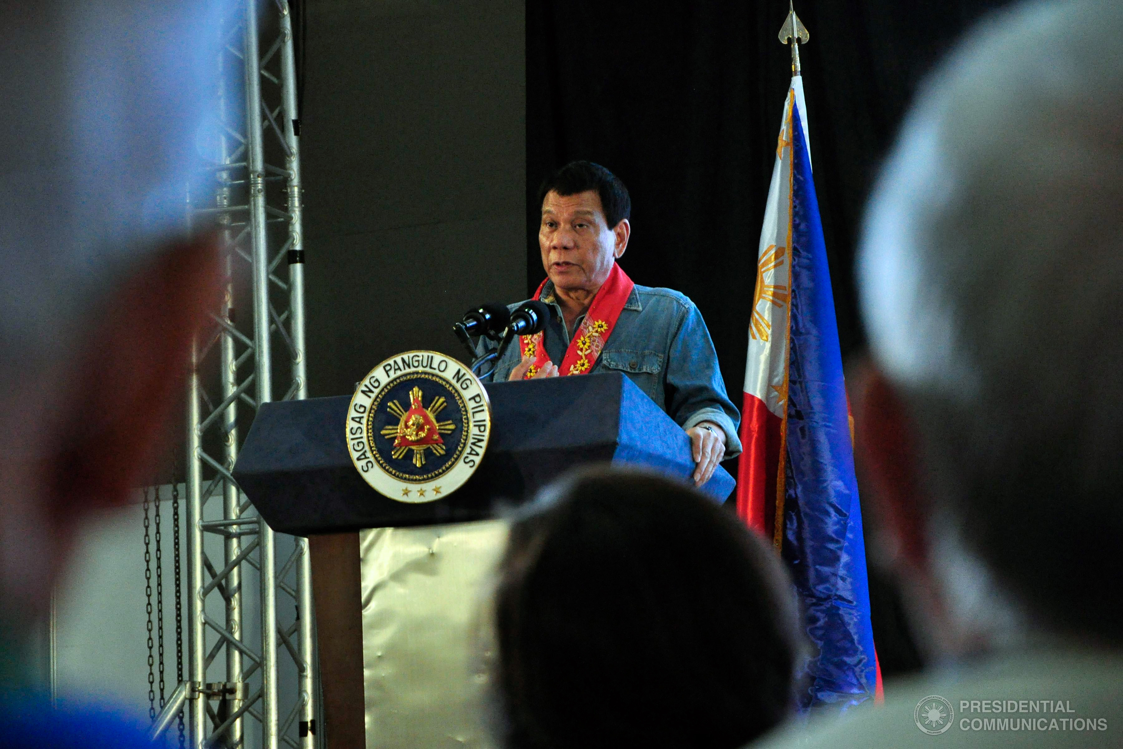 """Kris texted, saying: ""Huwag mo naman ipakulong ko si Noynoy"" (Please do not imprison Noynoy),"" President Duterte said in his speech during the official launching of the Bureau of International Revenue (BIR)'s Large Tax Service (LTS) 2017 tax campaign at the Philippine International Convention Center (PICC). (Photo: JOEY FRANCIS DALUMPINES/Presidential Photo)"