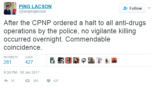 "Sen. Panfilo ""Ping"" Lacson made this remark on his Twitter account pointing out that an average of 10 to 11 people were killed daily while the war against drugs was still being implemented.  (Photo: PING LACSON/ Twitter)"