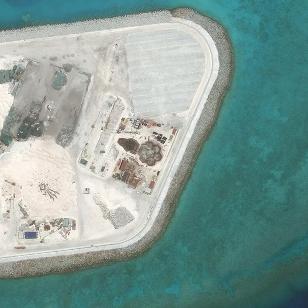 "Malacañang on Tuesday said that the ""Department of Foreign Affairs (DFA) is in the process of verifying alleged announcements of proposals to build structures in the West Philippine Sea"" even as it stressed anew that the Philippines is not giving up its claim of sovereignty over Panatag Shoal (Scarborough Shoal). (Photo: ASIA MARITIME TRANSPARENCY INITIATIVE)"