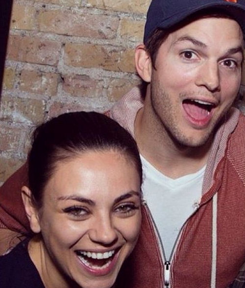 Ashton Kutcher has offered emotional praise for his wife Mila Kunis, his twin brother and the rest of his family while accepting an award for character in his native Iowa. (Photo: Ashton Kutcher and Mila Kunis/Facebook)