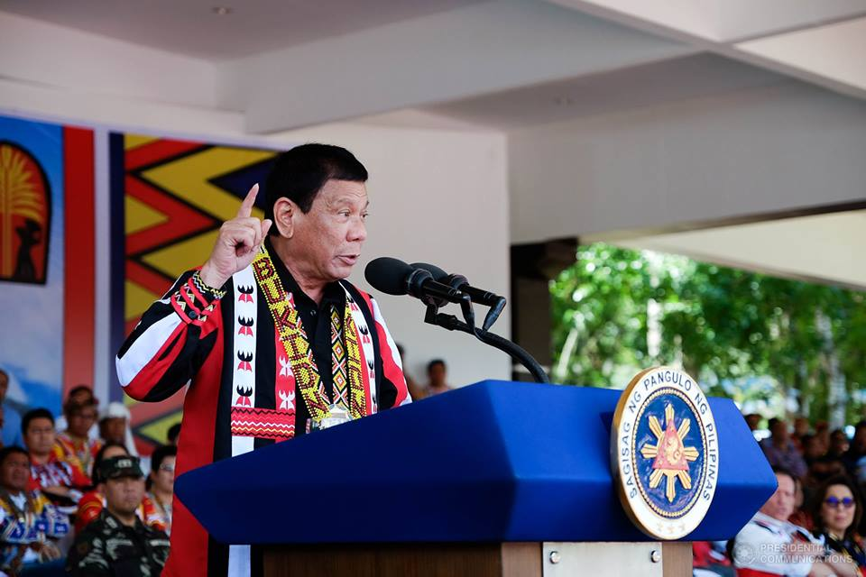 """""""The reason why there is so much criminality… nobody respects the law anymore. It's because of that Pangilinan law,"""" Duterte said during the investiture ceremony of the Boy Scouts of the Philippines in Malacañang, (Photo: Presidential Communications (Government of the Philippines)/ Facebook)"""