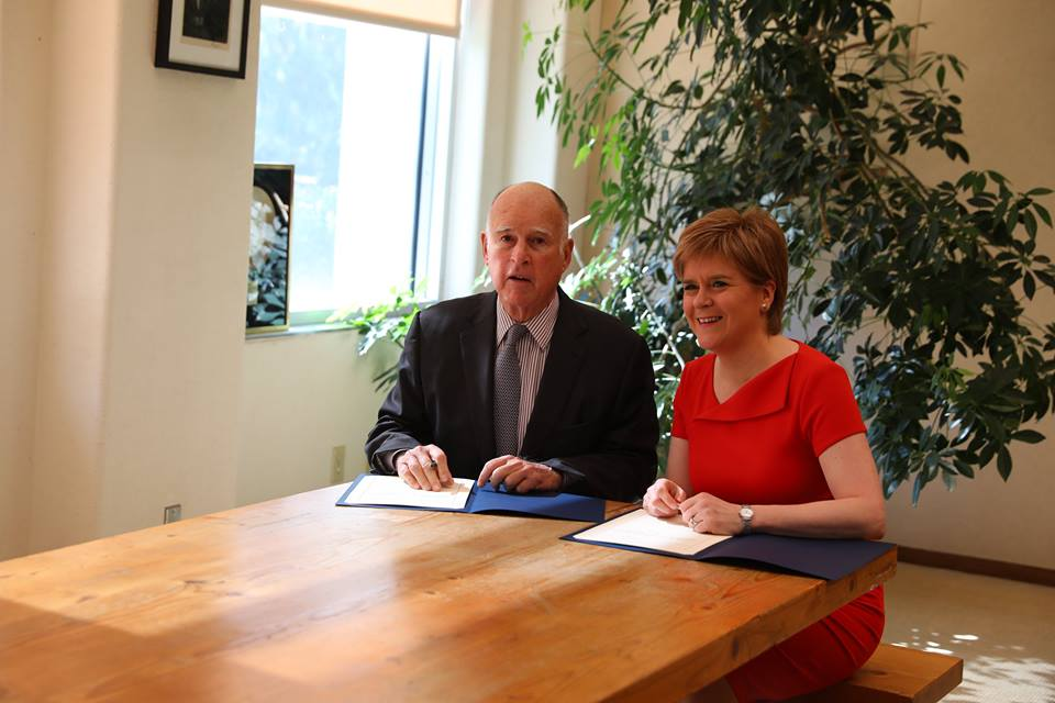 Scottish First Minister Nicola Sturgeon has signed a climate change agreement with California Gov. Jerry Brown at the start of a five-day visit to the U.S. that comes as Scotland considers its independence from the United Kingdom. (Photo:  Nicola Sturgeon/Facebook)