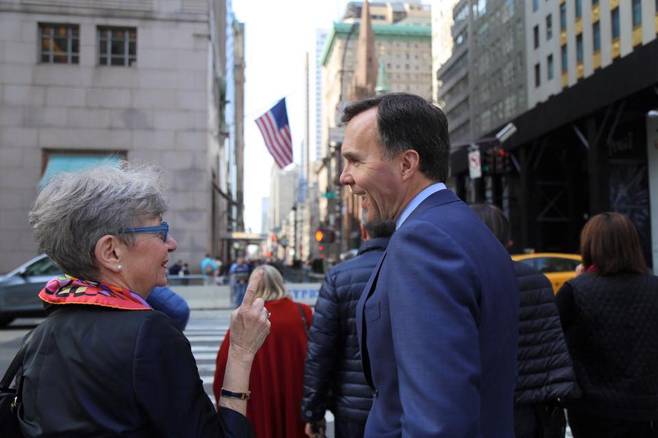 """""""Our sense is that there would be an initial negative for both economies –and that the negative may be worse for the United States economy,"""" Morneau said in a question-and-answer session shortly after he raised his concerns about a border tax in a speech. (Photo: Bill Morneau/ Facebook)"""