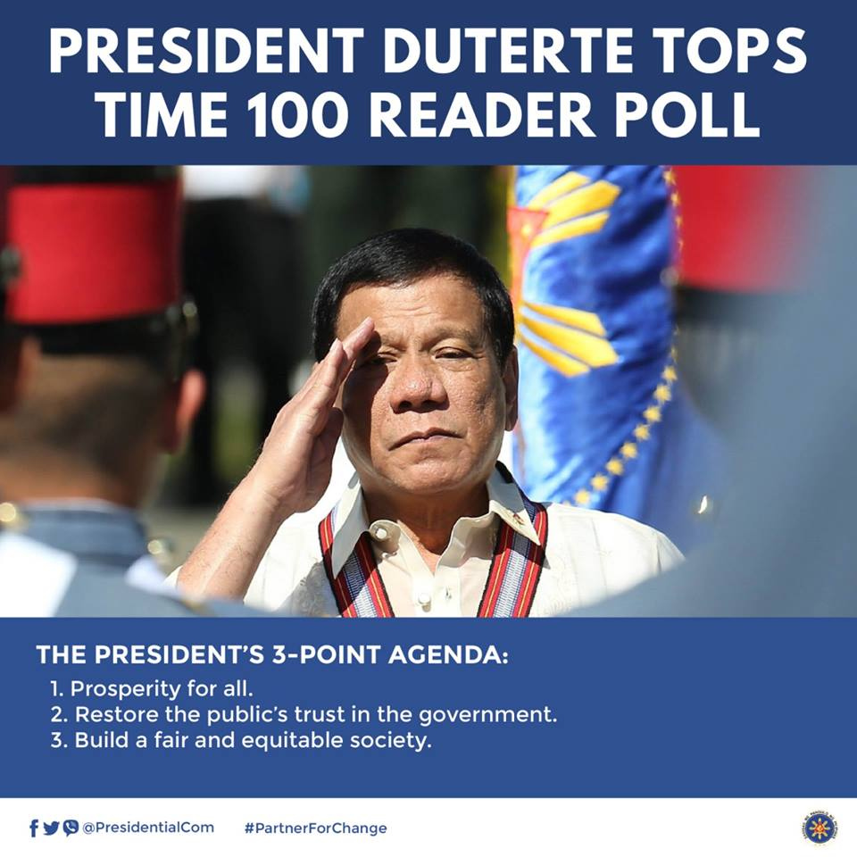 Duterte consistently led TIME's online poll that started in the last week of March and closed in April. (Photo: Presidential Communications (Government of the Philippines)/ Facebook)