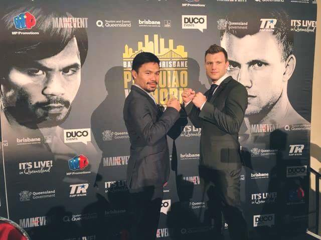 Pacquiao and Horn met for the first time Wednesday at the venue where local promoters are expecting a crowd of 55,000 for the WBO welterweight world title bout. (Photo: Manny Pacquaio/ Facebook)