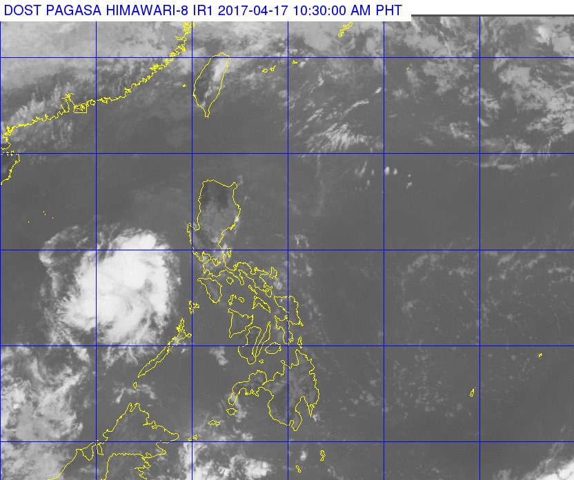 The low pressure area (LPA) last spotted at 175 km northwest of Coron, Palawan will bring rains over the province and other areas nearby, state weather agency Philippine Atmospheric, Geophysical and Astronomical Services Administration (PAGASA) said on Monday. (Photo: Dost_pagasa/ Facebook)