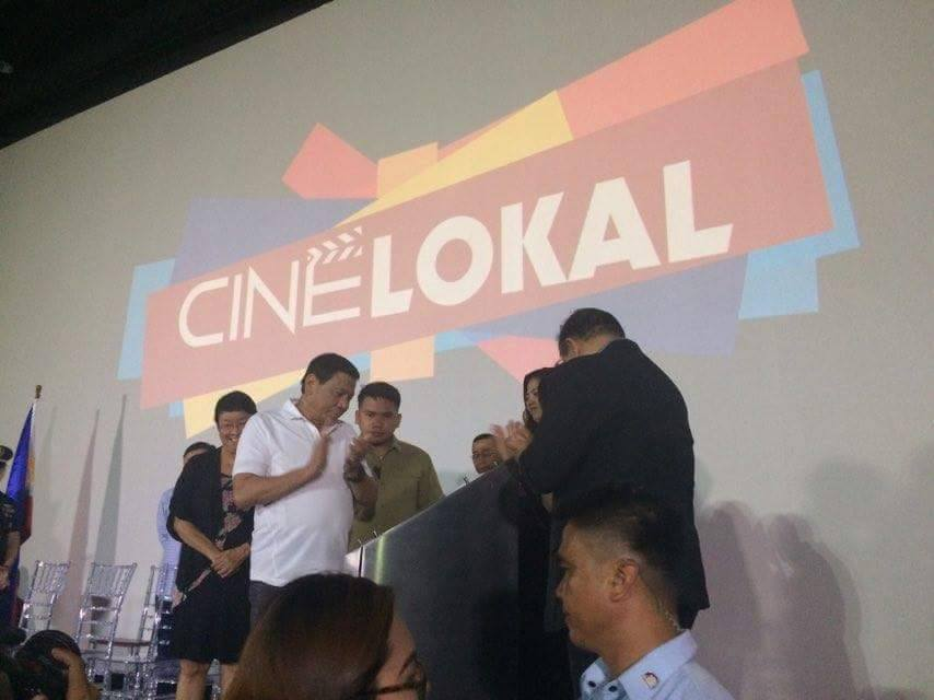 President Rodrigo Roa Duterte said films should show the social aspect of the country's state as he led the grand launch of Cine Lokal on Wednesday, April 19. (Photo: Cine Lokal/Facebook)