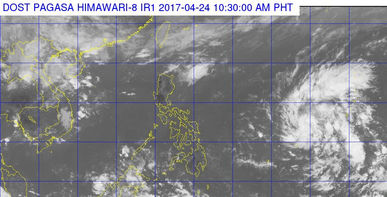 PAGASA said a low pressure area was spotted at 1,580 kilometers east of Mindanao, outside the Philippine Area of Responsibility. (Photo: Dost_pagasa/ Facebook)
